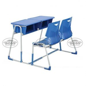 Steel Plastic Baby Green Shell Joint 2-Seater Bench Desk
