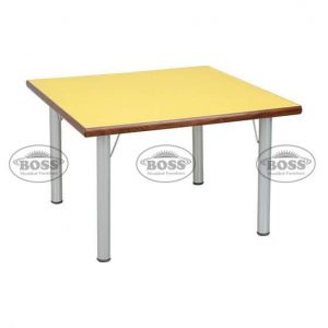 """Wooden Table Square With Steel 2"""" Pipe"""