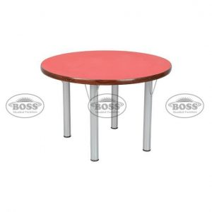 """Wooden Table Circle With Steel 2"""" Pipe"""